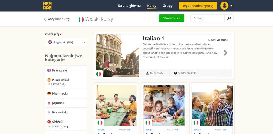 aplikacje do nauki włoskiego memrise